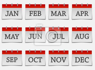 Naklejka  Calendar month set  icon on grey color