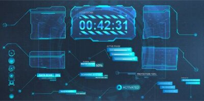 Naklejka Callouts titles and screen futuristic frame in HUD style. Futuristic callout bar labels, information call box bars and modern digital info boxes layout templates. Vector illustration HUD, GUI, UI