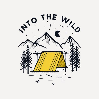 Naklejka Camping badge illustration design. Outdoor logo with quote - Into the wild, for t shirt. Included retro mountains and tent. Unusual hipster tattoo style patch. Stock isolated