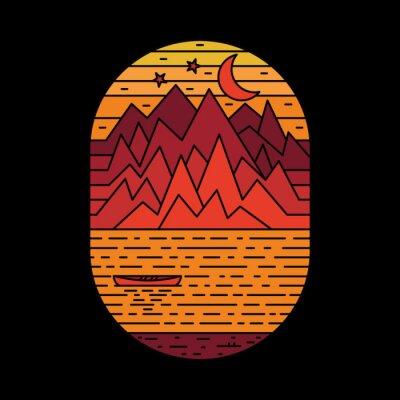 Naklejka Camping nature adventure wild line badge patch pin graphic illustration vector art t-shirt design