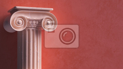 Naklejka Capital of the ancient Greek Ionic order isolated over white background. Antique column roman pillar architecture, 3d illustration.
