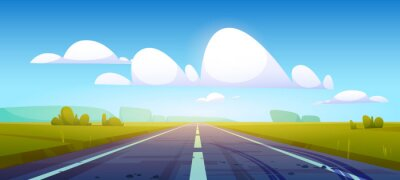 Naklejka Car road in fields with green grass and forest on horizon. Vector cartoon illustration of summer countryside landscape with meadows, clouds in blue sky and highway with tire tracks on asphalt