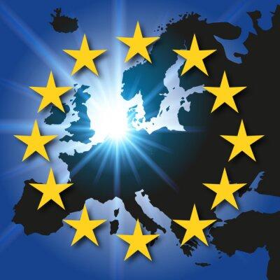 Naklejka Carte Europe - drapeau