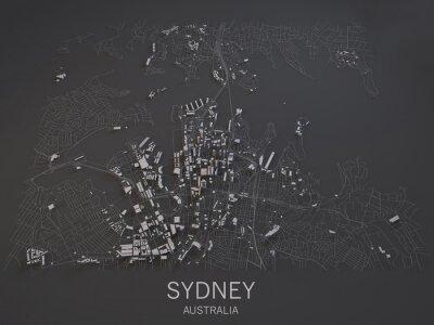 Naklejka Cartina di Sydney, Australia, vista satelitarna, Mappa w 3d