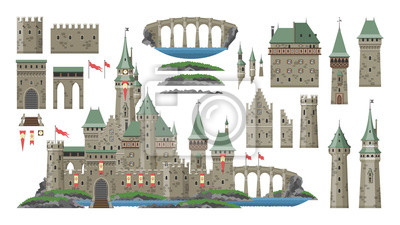 Naklejka Cartoon castle vector fairytale medieval tower of fantasy palace building in kingdom fairyland illustration set of historical fairy-tale house bastion constructor isolated on white background