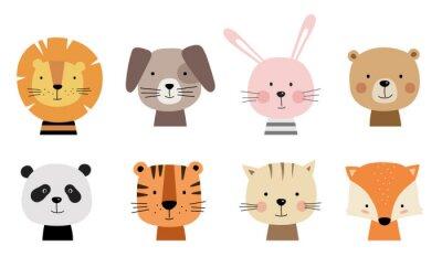Naklejka Cartoon cute zwierząt dla kart dziecka. Ilustracji wektorowych. Lew, pies, królik, niedźwiedź, panda, tygrys, kot, lis.