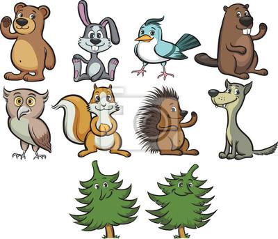 Naklejka Cartoon Cute zwierząt leśnych