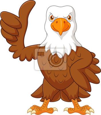 Naklejka Cartoon eagle dając kciuk do góry na białym tle