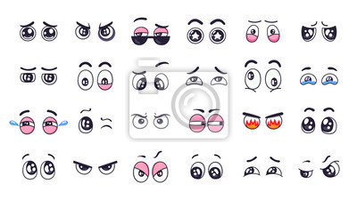 Cartoon eyes. Comic funny expression eyes with various emotions, crying eyes, laughing, angry and cute winking eyes isolated vector illustration set. Expressive vision. Staring, looking
