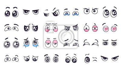 Cartoon eyes. Comic watching eye, funny facial eyes expressions and human emotions happy and crying sad doodle pair eye vector illustration set. Angry eyes, scared and surprised glance stickers