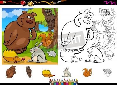 Naklejka Cartoon ilustracji cute Lasu Dzikie zwierzęta grupy dla kolorowanka z elementami określonymi