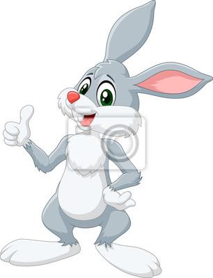 Naklejka Cartoon królik dając kciuk do góry na białym tle