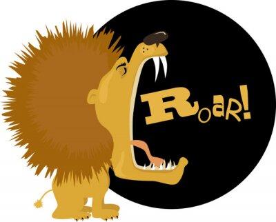 Naklejka Cartoon lion roaring, vector illustration, no transparencies, EPS 8