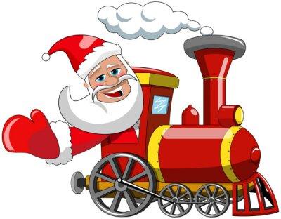 Naklejka Cartoon Mikołaj parowej jazdy lokomotywa izolowana