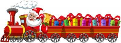 Naklejka Cartoon Mikołaj Realizacja prezentu jeździsz lokomotywa z trzy wagony izolowane