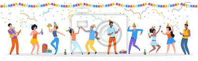 Naklejka Cartoon party people. Trendy happy dancing group of men and women with party hats, confetti and drinks. Vector illustration birthday young fun man and his friends