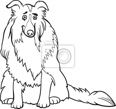 Naklejka Cartoon Pies Collie Dla Kolorowanka Na Wymiar