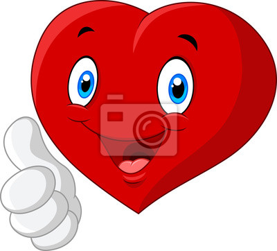 Naklejka Cartoon serca miłość daje kciuk w górę na białym tle