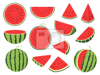 Naklejka Cartoon slice watermelon. Green striped berry with red pulp and brown bones, cut and chopped fruit, half and sliced on white background