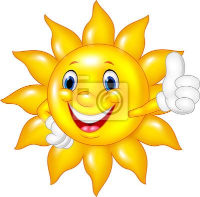 Naklejka Cartoon słońce dając kciuki do góry na białym tle