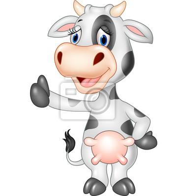 Naklejka Cartoon śmieszne krowa daje kciuk w górę odizolowane na przezroczystym tle