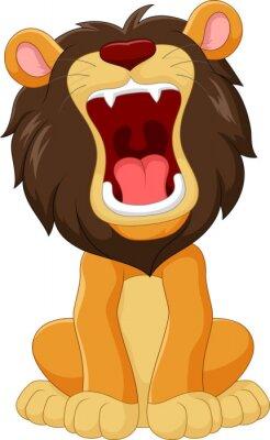 Naklejka Cartoon szczęśliwy lew ryczący na białym tle
