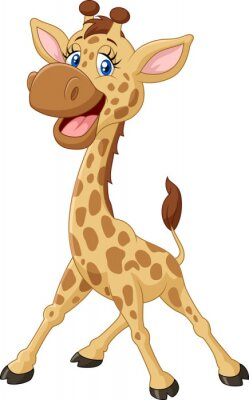 Naklejka Cartoon uśmiechnięta żyrafa