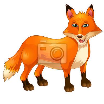 Naklejka Cartoon Zabawna fox daje kciuk w górę na białym tle