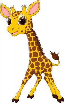Naklejka Cartoon Zabawna maskotka żyrafa samodzielnie na białym tle