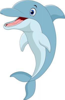 Naklejka Cartoon zabawny Delfin skoków