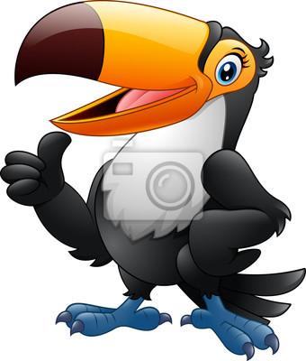 Naklejka Cartoon zabawny tukan dając kciuk do góry na białym tle