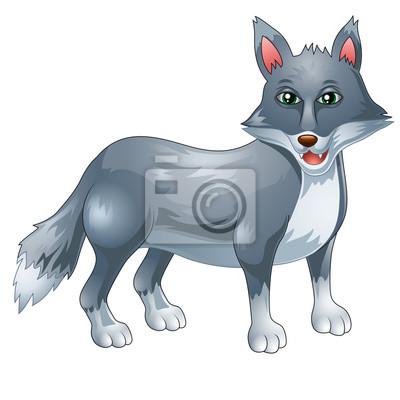 Naklejka Cartoon zabawny wolf daje kciuk w górę na białym tle