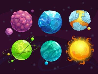 Naklejka Cartoon zestaw fantazji obce planety