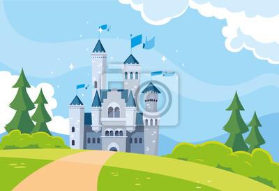 Naklejka castle building fairytale in mountainous landscape