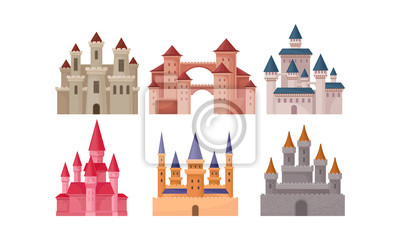 Naklejka Castles and Fortresses Vector Set. Medieval Buildings Collection