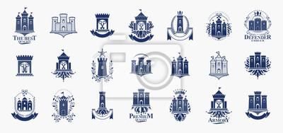 Naklejka Castles logos big vector set, vintage heraldic fortresses emblems collection, classic style heraldry design elements, ancient forts and citadels.