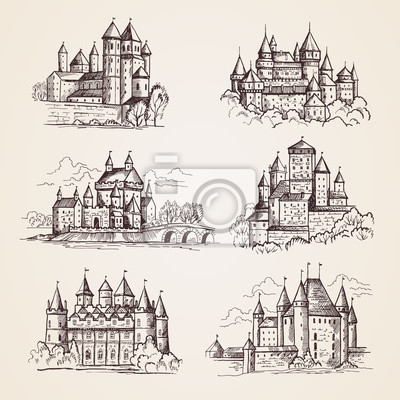 Naklejka Castles medieval. Old tower buildings vintage architecture ancient gothic castles vector hand drawn illustrations. Town tower, sightseeing building, castle famous