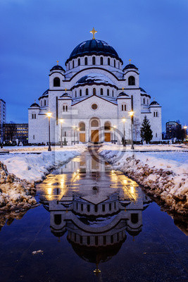 Naklejka Cathedral of Saint Sava at evening, Belgrade, Serbia