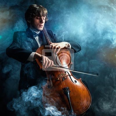 Naklejka cellist in smoke