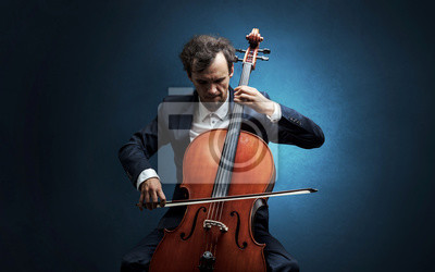 Naklejka Cellist playing on instrument with empathy