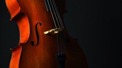 Naklejka Cello closeup on dark gray background banner