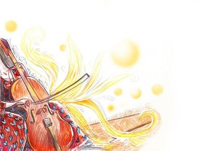 Naklejka Cello orchestra musical instrument
