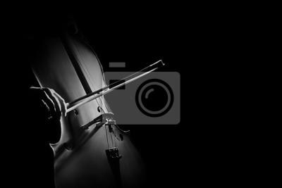 Naklejka Cello ręce graczem wiolonczelista z kokardką