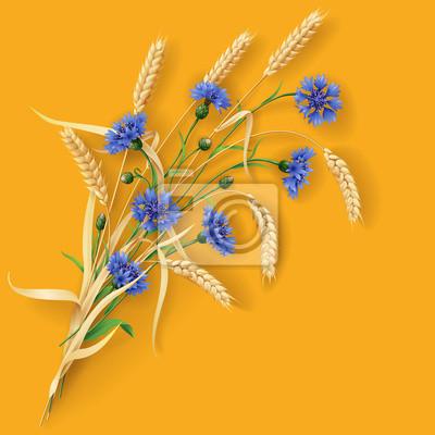 Chabry i kłosy pszenicy na pomarańczowo