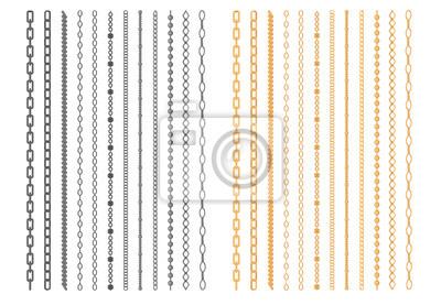 Naklejka Chainlets metalowe z Variety Chain Link Wektor zestaw