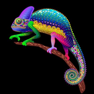 Naklejka Chameleon Fantasy Rainbow Colors