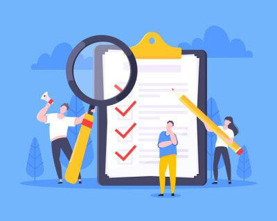 Naklejka Checklist complete business concept tiny people with pencil, magnifying glass nearby giant clipboard, task done and check mark ticks flat style design vector illustration isolated white background.