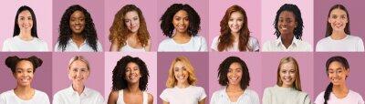 Naklejka Cheerful beautiful women of different nationalities over pink