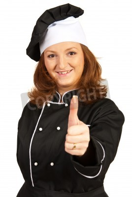 Naklejka Chef woman giving thumb up isolated on white background
