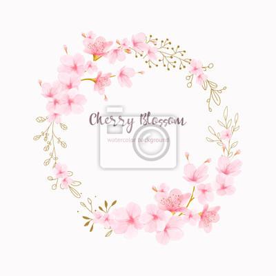 Naklejka Cherry blossom frame Floral watercolor